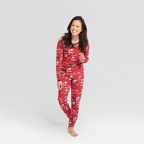 7f75c1fb2451 Nite Nite Munki Munki Women s Holiday Santa s List Pajama Set - Red ...