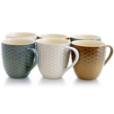 15oz 6pk Stoneware Modern Hexagon Assorted Mugs - Elama