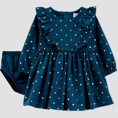 Baby Girls' Dot Long Sleeve Dress with Diaper Cover - Just One You® made by carter's Green 12M