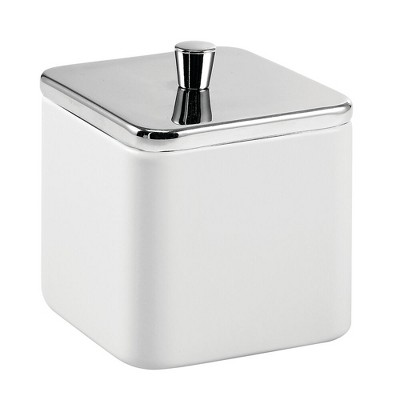 mDesign Square Metal Bathroom Vanity Canister Apothecary Jar