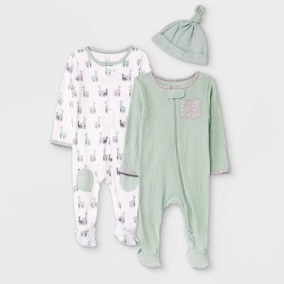 Baby Boys' 2pk Llama Sleep N' Play with Hat - Cloud Island™ Light Green