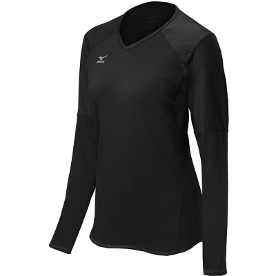 Mizuno Womens Fitted Long Sleeve V Neck Athletic T-shirt - Black XX Large