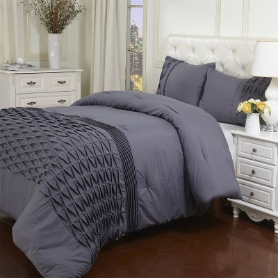 Microfiber Wrinkle-Free Solid Pintuck Comforter and Pillow Sham Set by Blue Nile Mills