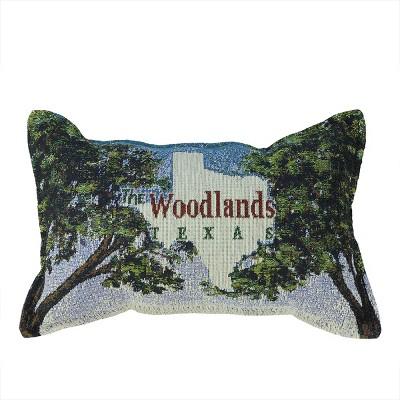 "Simply Home 8"" x 12"" Rectangular ""The Woodlands TEXAS"" Indoor Throw Pillow - Green/Blue"