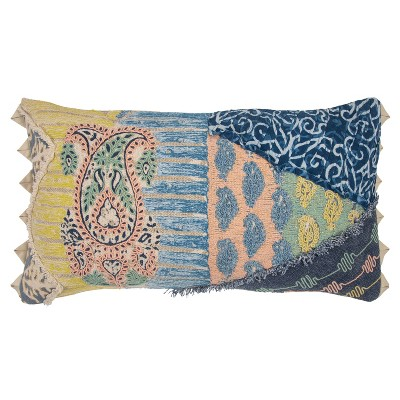 """14""""x26"""" Paisley Lumbar Throw Pillow Cover Blue/Yellow - Rizzy Home"""