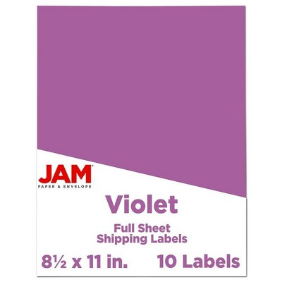 "JAM Paper Shipping Labels 8.5"" x 11"" 10ct - Purple"
