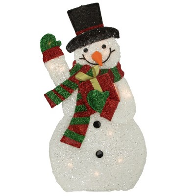 "Northlight 32"" White and Red Waving Snowman Outdoor Christmas Yard Decor"
