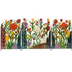 Metal Flower And Butterfly Garden Screen, 92''W X 42''H X 1.25''D - Wind & Weather