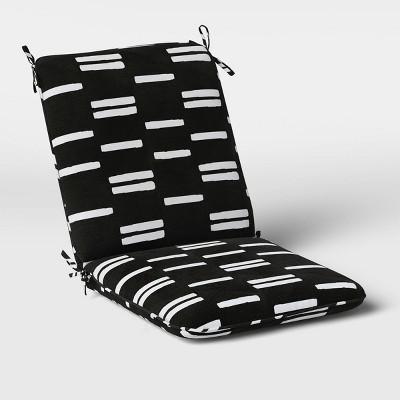 Stripe Outdoor Chair Cushion DuraSeason Fabric™ Black/White - Project 62™