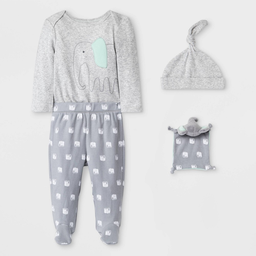 Image of Baby 4pc Elephant Layette Gift Set - Cloud Island Gray 0-3M, Kids Unisex, Gray/Blue