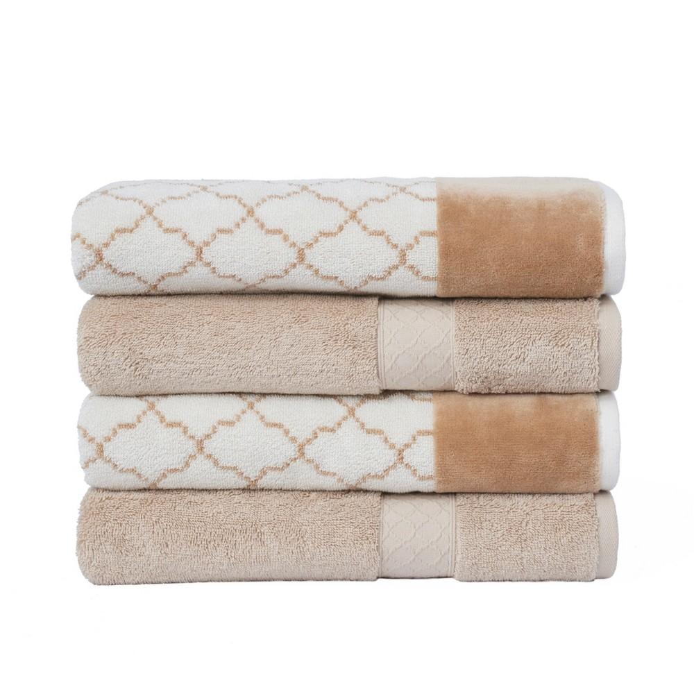 Image of 4pc Lattice Solid/Jacquard Bath Towel Set Off White/Beige - Loft