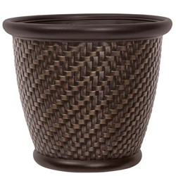 Suncast 1807J4 18 x 16.5 Inch Wicker Resin Dirt Pot Garden Planter, Dark Brown