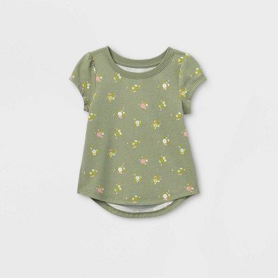 Toddler Girls' Floral Short Sleeve T-Shirt - Cat & Jack™ Olive Green