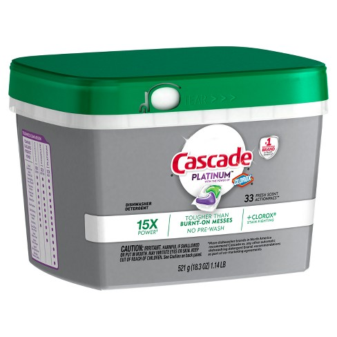Cascade Platinum Actionpacs Dishwasher Detergent with the Power of Clorox Fresh - 33ct - image 1 of 4