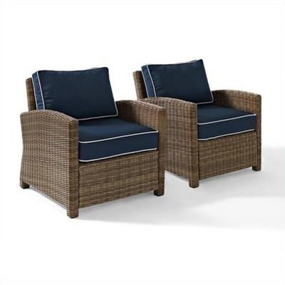 Steel 2 Piece Outdoor Wicker Seating Set in Brown-Pemberly Row