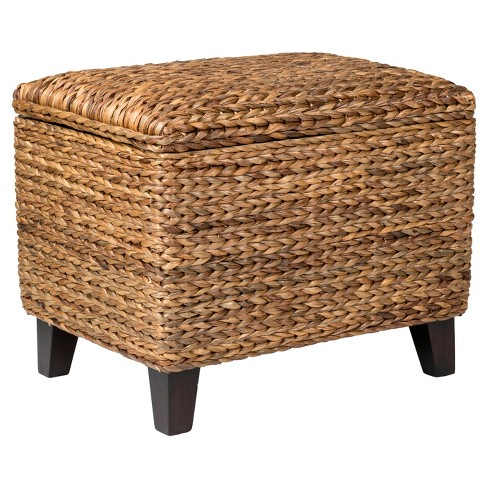 Wingo Rectangular Teakwood And Waterhyacinth Storage Ottoman - Brown - East At Main - image 1 of 6