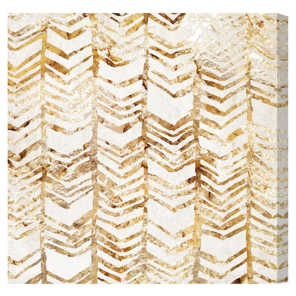 "Image of ""Oliver Gal Unframed Wall """"Season Glitter"""" Canvas Art (20x20), Gold White"""