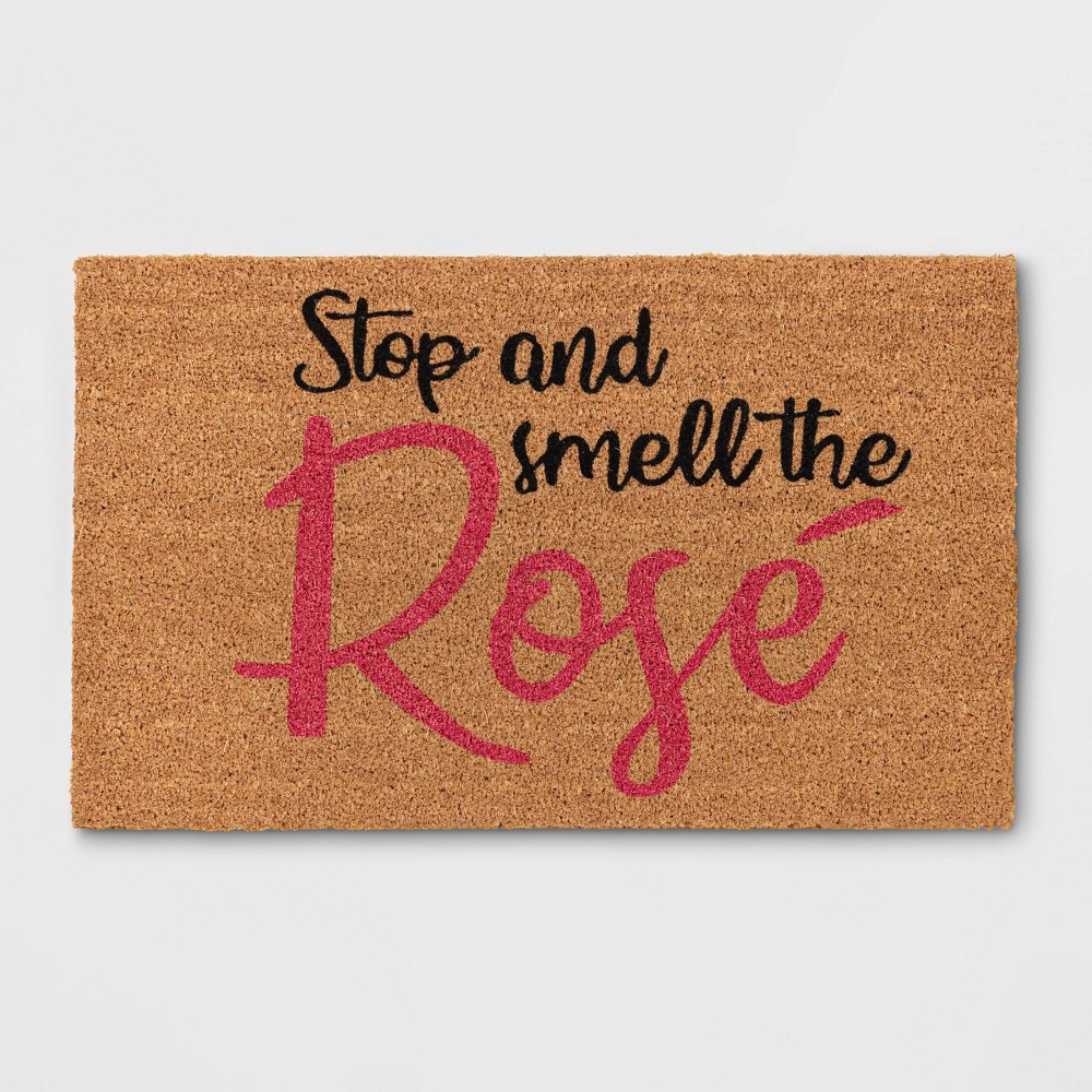Stop & Smell The Rose Coir Doormat Brown