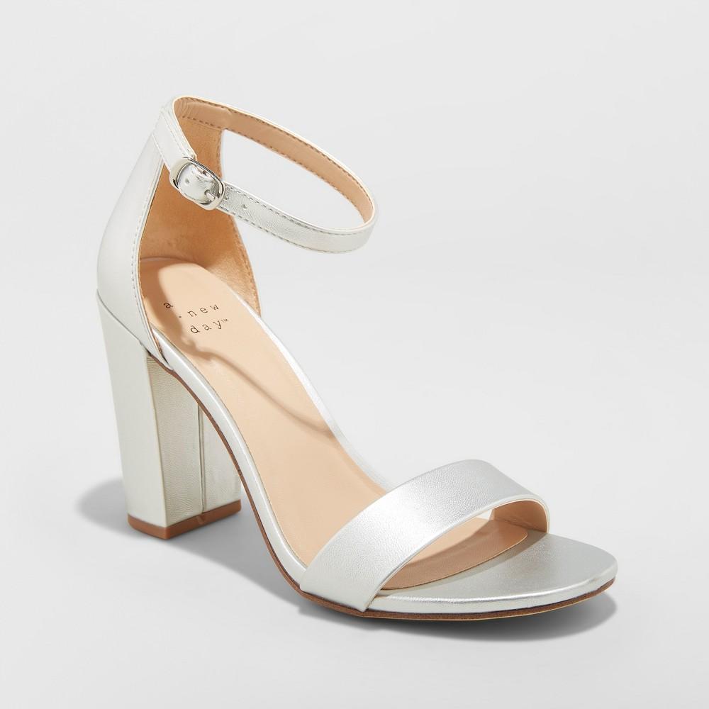 Women's Ema Wide Width High Block Heel Pumps - A New Day Silver 6.5W, Size: 6.5 Wide