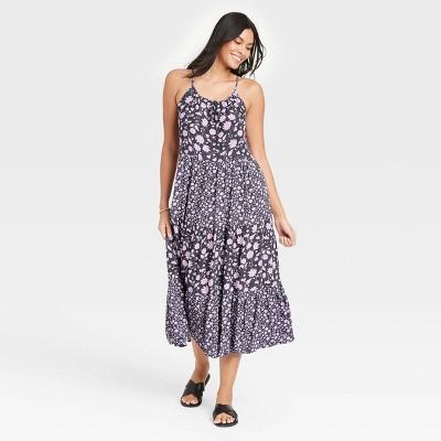 Women's Floral Print Sleeveless Tiered Dress - Universal Thread™ Navy