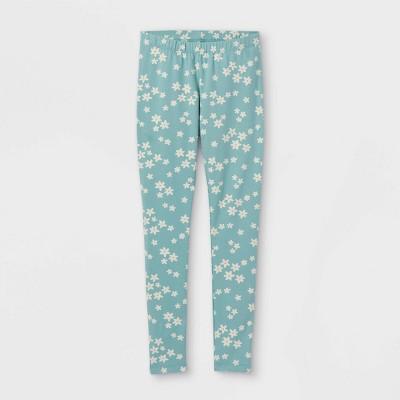 Girls' Floral Leggings - Cat & Jack™ Ocean Green