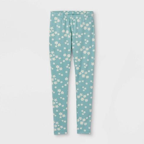 Girls' Floral Leggings - Cat & Jack™ Ocean Green - image 1 of 2