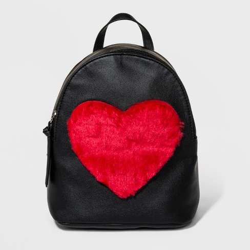 T-Shirt & Jeans Faux Fur Heart Backpack - Black - image 1 of 4