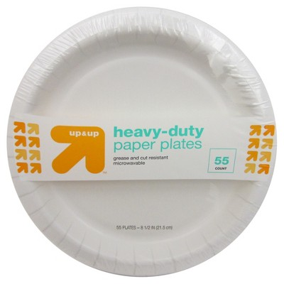 Heavy Duty Disposable Paper Plates - 8.5  - 55ct - Up&Up™