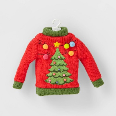Knit Ugly Sweater Christmas Tree Ornament Red - Wondershop™
