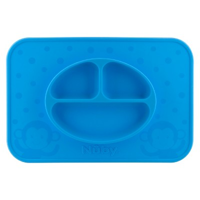 Nuby LG. Silicone Sectioned feeding placemat - Blue