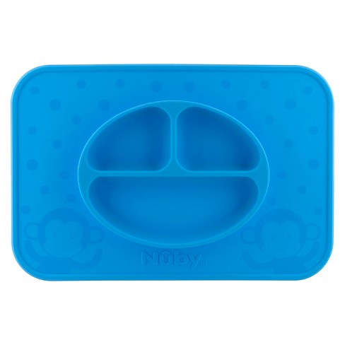 Nuby LG. Silicone Sectioned feeding placemat - Blue - image 1 of 1