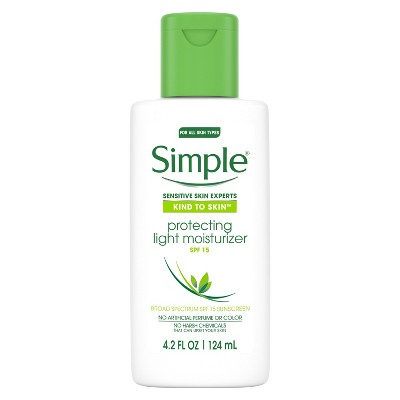 view Unscented Simple Protecting Light Moisturizer SPF 15 - 4.2oz on target.com. Opens in a new tab.