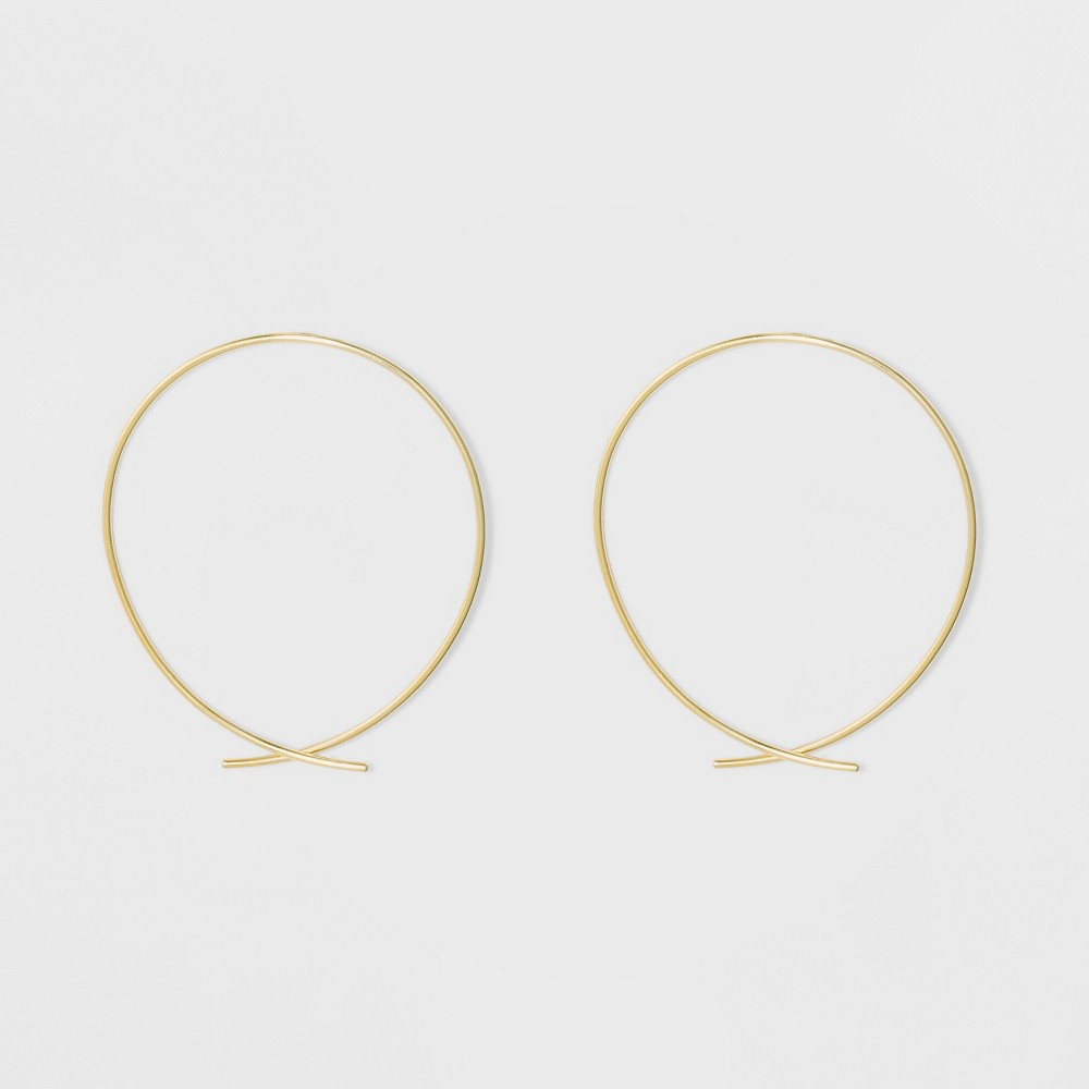Gold Plated Open Wire Hoop Earrings 14kt - A New Day Yellow, Size: Large