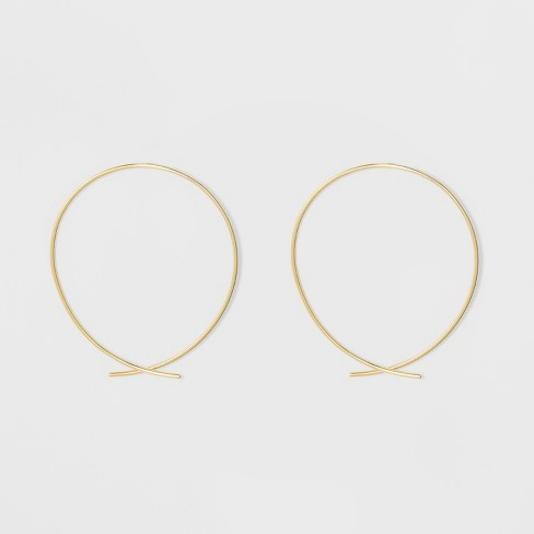 Gold Plated Open Wire Hoop Earrings 14kt A New Day Yellow