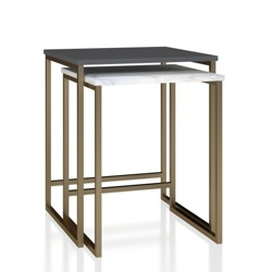 Scarlett Nesting Tables White Faux Marble/Graphite Gray - CosmoLiving by Cosmopolitan