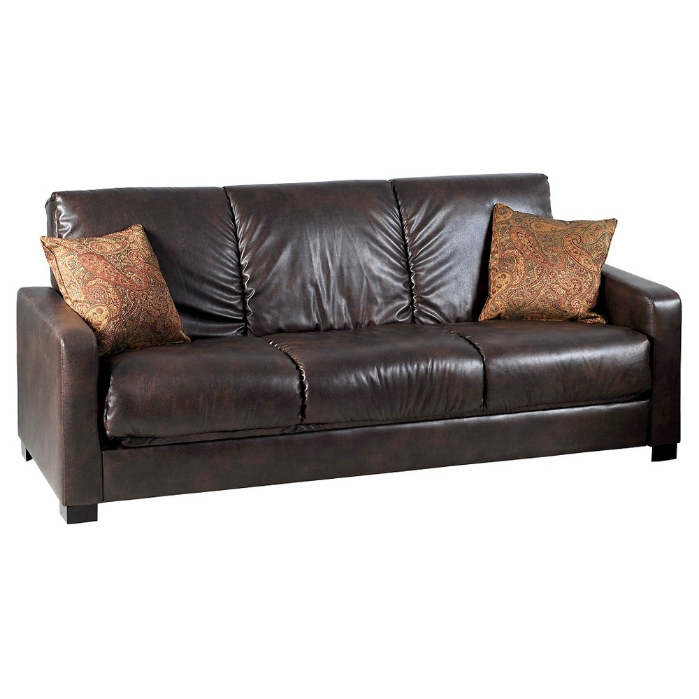 Thora Convert-a-Couch with Paisley Pillows - Brown - Handy Living, Dark Cappuccino