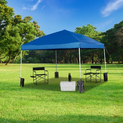Emma and Oliver 10'x10' Pop Up Straight Leg Canopy Tent With Sandbags and Wheeled Case