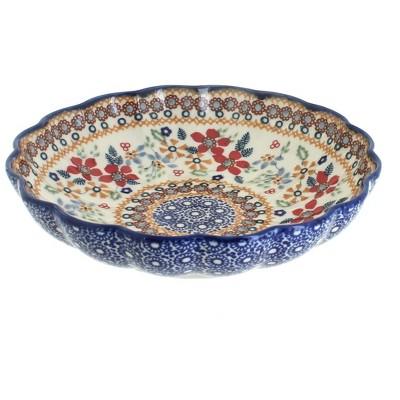 Blue Rose Polish Pottery Red Daisy Medium Scallop Bowl