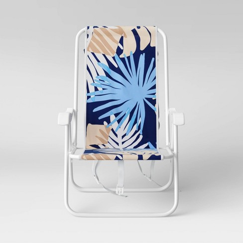 Palm Print Beach Backpack Chair - Blue - Sun Squad™ - image 1 of 4