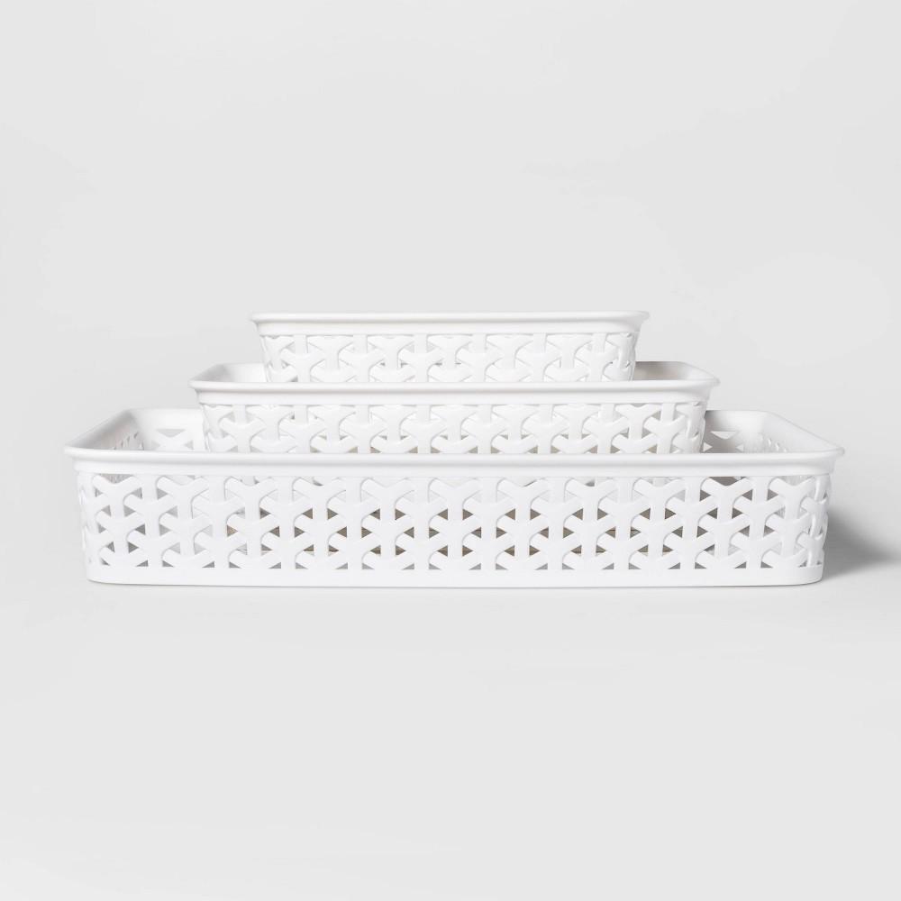 "Image of ""3pk Y-Weave Cube Storage Basket White 2""""x10"""" - Room Essentials"""