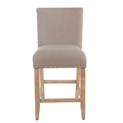 """24"""" Upholstered Counter Height Barstool with Nailheads Tan - HomePop"""