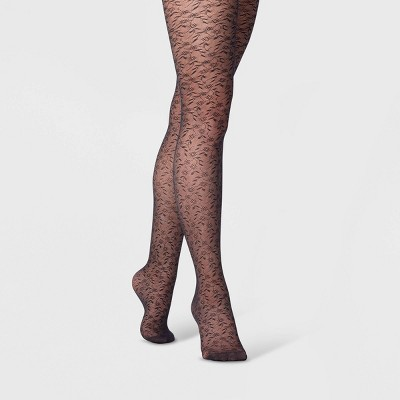 Women's Mini Floral Tights - A New Day™ Black