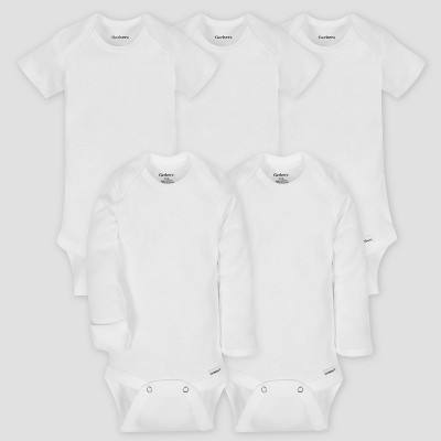 Gerber Baby's Organic Cotton 5pk Short Sleeve Onesies Bodysuit Essential Set - White 0/3M