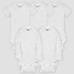 7fa1623ea Gerber Baby Organic Cotton 5pk Short Sleeve Onesies Bodysuit Essential Set  - White 0/3M