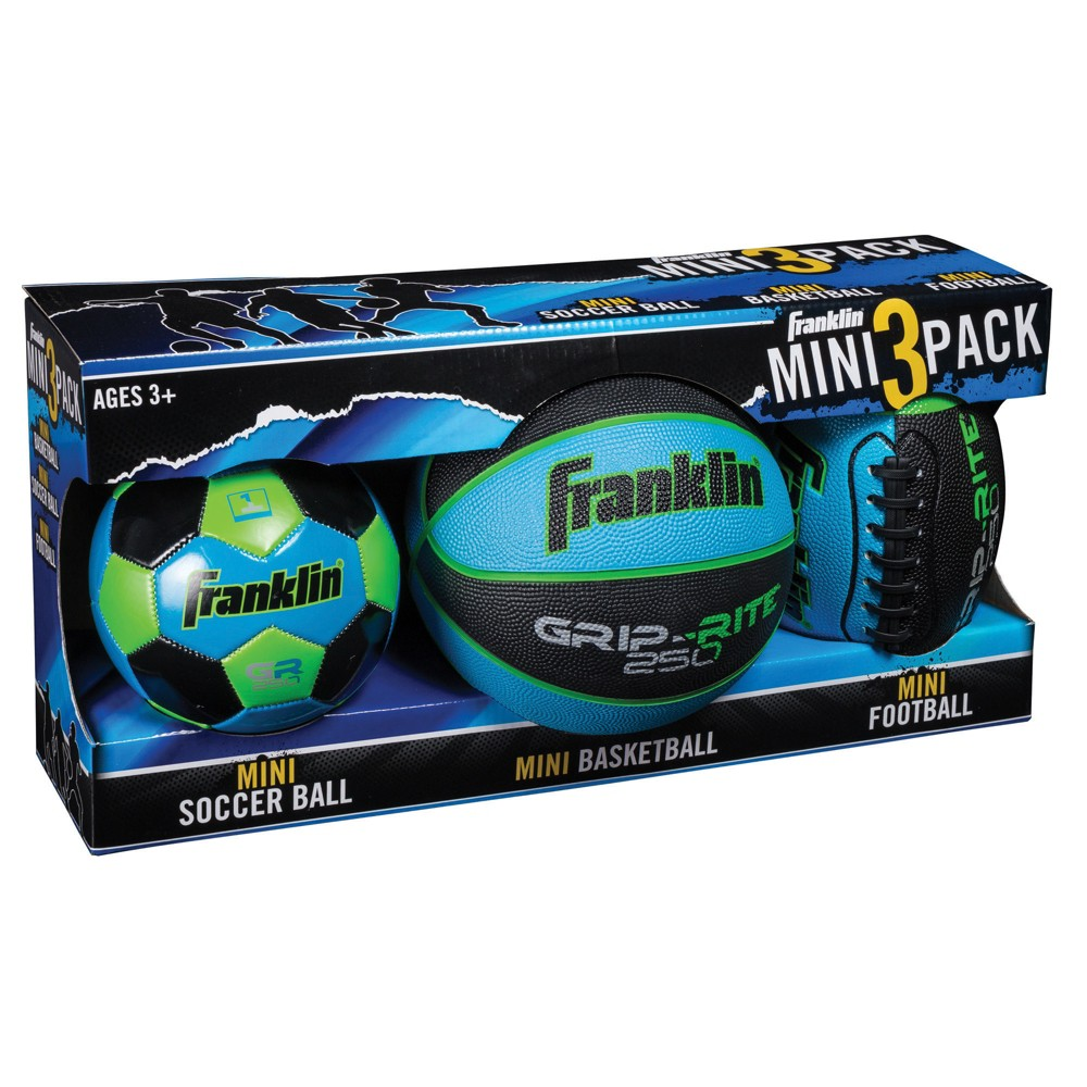 Franklin Sports Mini Soccer Ball/Basket Ball/Football - 3pk - Blue The Franklin Sports Mini Ball three-pack set is perfect for helping young players learn to play their favorite sports. The set includes a 8.5-inch mini stitched football, a seven-inch mini deep channel rubber basketball and a six-inch machine stitched soccer ball. Color: Blue.