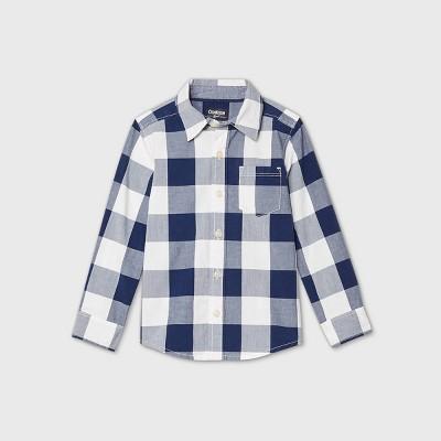 OshKosh B'gosh Toddler Boys' Long Sleeve Plaid Woven Button-Down Shirt - Navy 12M