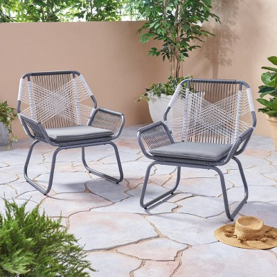 Milan 2pk Steel Club Chairs - Gray/White - Christopher Knight Home