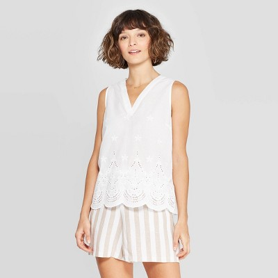 view Women's Sleeveless V-Neck Eyelet Knit Blouse - A New Day on target.com. Opens in a new tab.