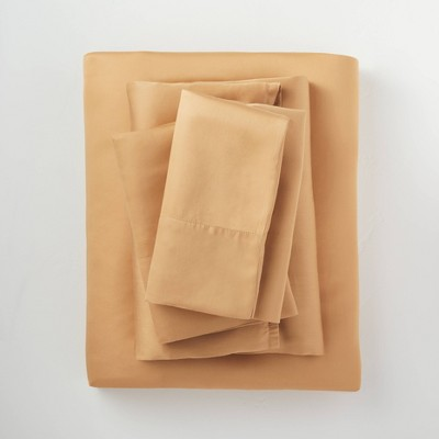 Queen 400 Thread Count Washed Lyocell Solid Sheet Set Honey - Casaluna™