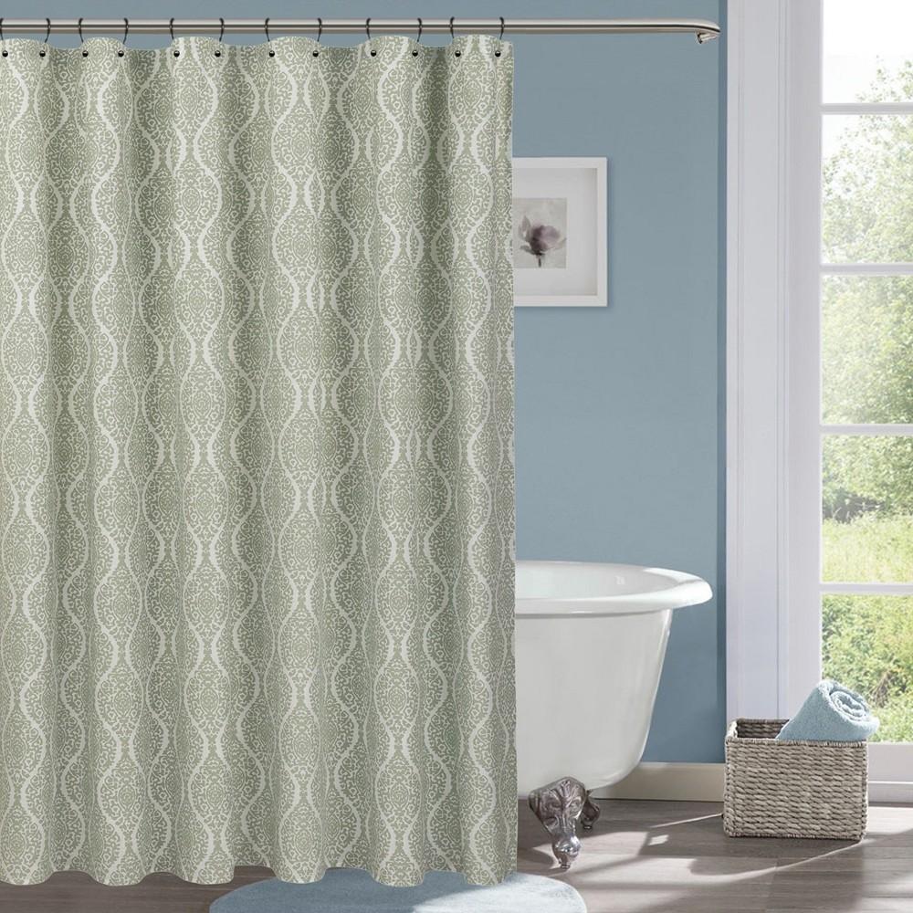 Wave Lines Shower Curtain White - Threshold, Forgotten Sage